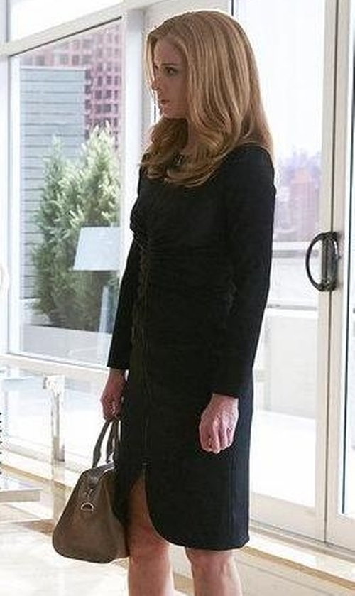 Sarah Rafferty with Oscar de la Renta Gathered Stretch Wool Crepe Dress in Suits