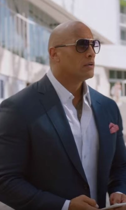Dwayne Johnson with Ralph Lauren Anthony Basic Trim-Fit Wool Suit in Ballers
