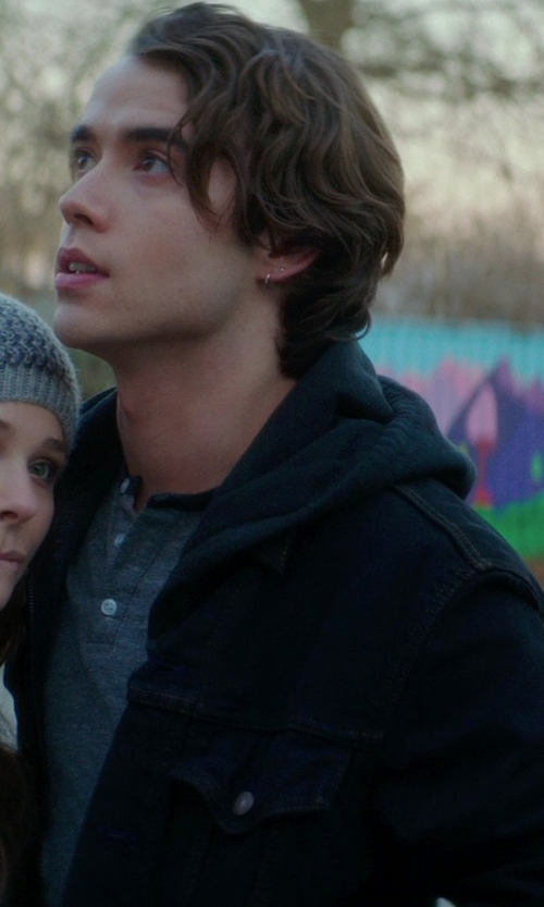 Jamie Blackley with Neiman Marcus Cashmere Zip-Front Hoodie in If I Stay
