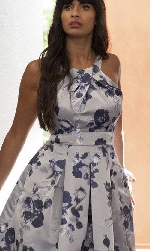 Jameela Jamil with Oscar de la Renta Floral Boatneck Silk Blend Dress in The Good Place