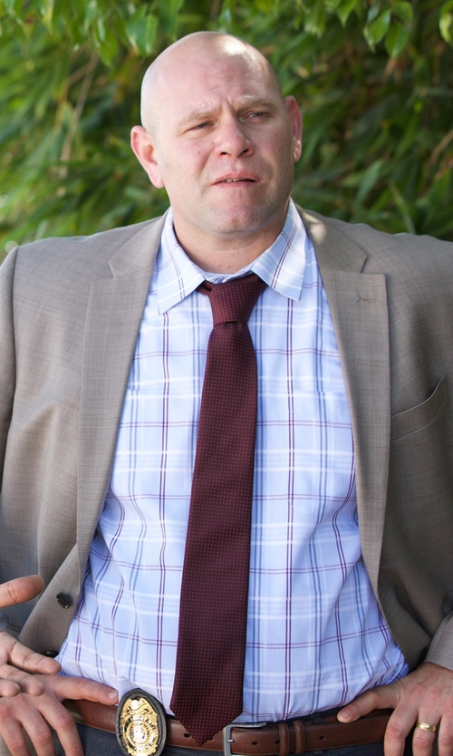 Domenick Lombardozzi with Boss Dot Silk Tie in Rosewood