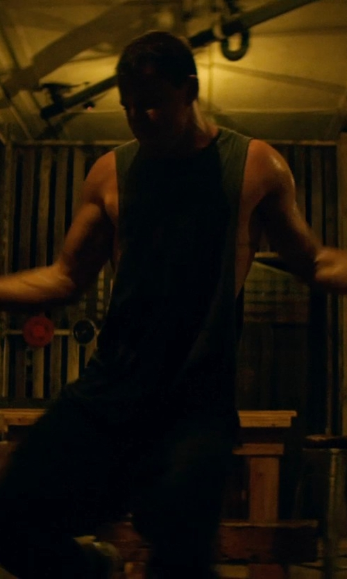 Channing Tatum with Urban Outfitters Obey On Deck Muscle T-shirt in Magic Mike XXL