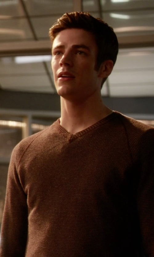 Grant Gustin with Johnstons Of Elgin Scottish Cashmere Sweater in The Flash
