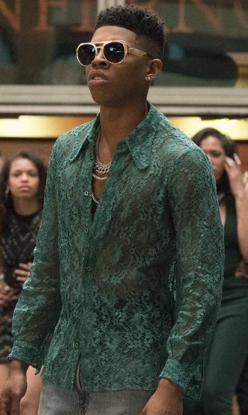 Bryshere Y. Gray with Gucci 70's Style Collar Lace Shirt in Empire