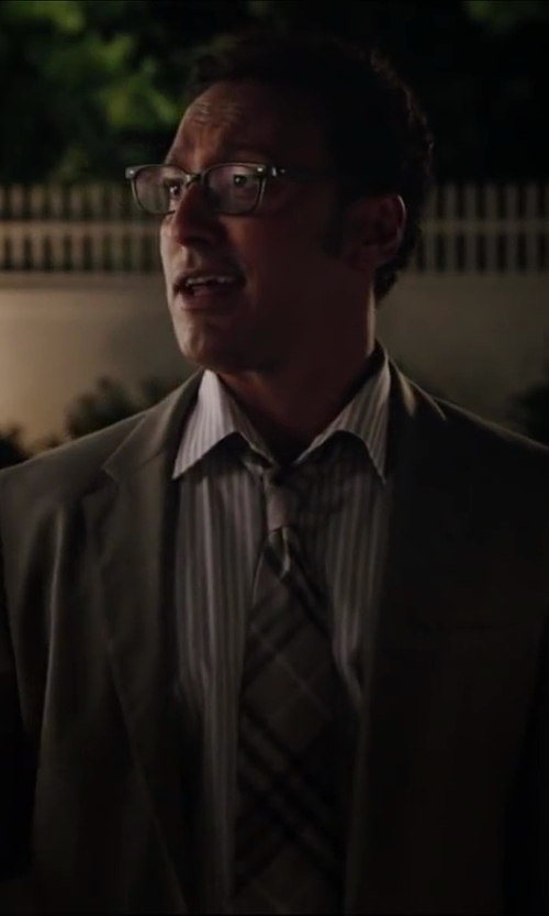 Aasif Mandvi with YVES SAINT LAURENT Grey And White Cotton Striped Button Front Shirt in Million Dollar Arm