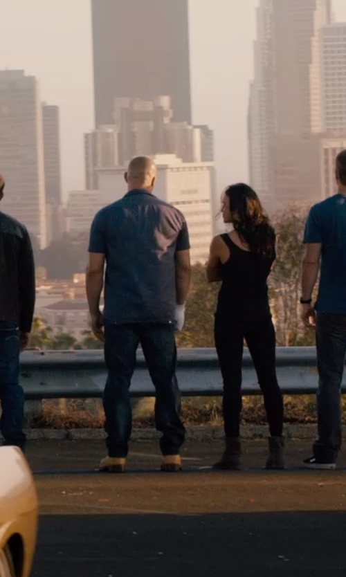 Vin Diesel with 2 Men Denim Pants in Furious 7