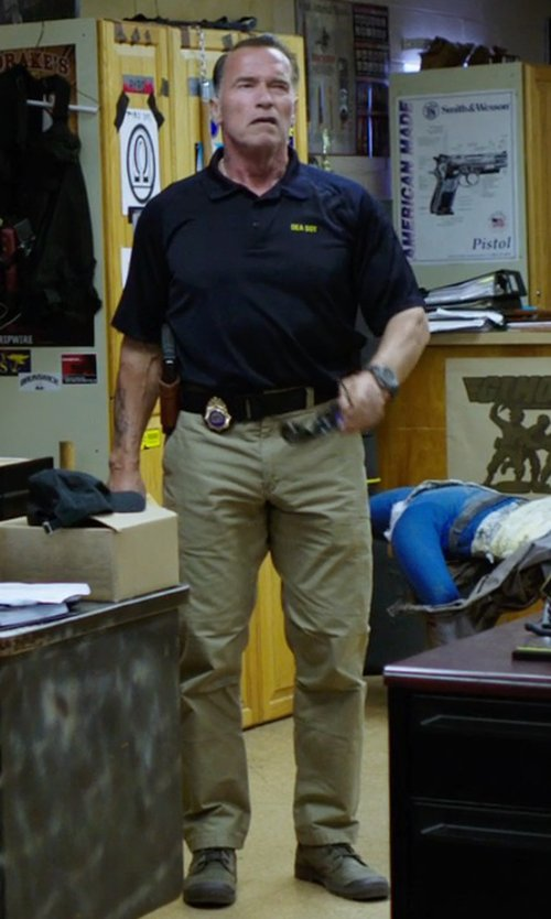 Arnold Schwarzenegger with Ralph Lauren Super-Slim Officer's Chino in Sabotage