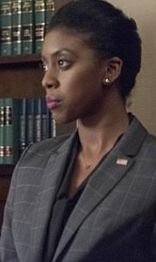Condola Rashad with Dolce & Gabbana Check Blazer in Billions
