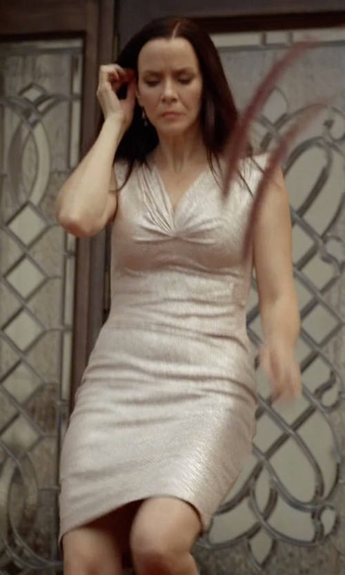 Annie Wersching with Ralph Lauren Ruched Metallic Sheath Dress in The Vampire Diaries
