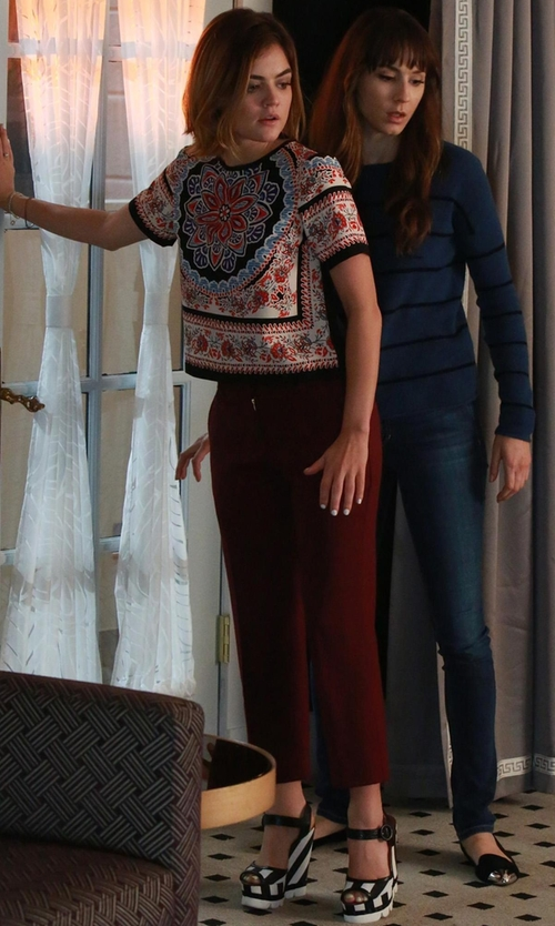 Lucy Hale with Dolce & Gabbana Striped Wedge Sandals in Pretty Little Liars