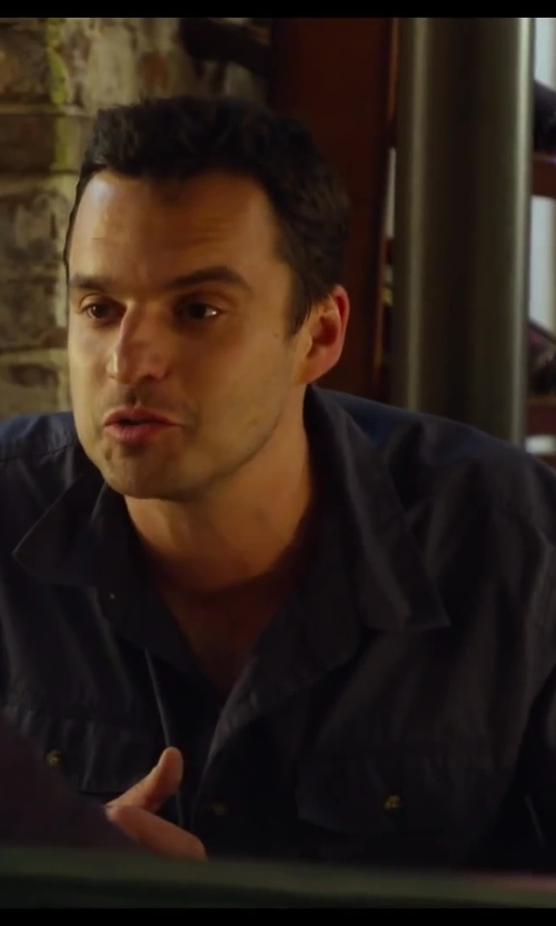 Jake Johnson with Kenneth Cole Reaction Novelty Roll-Tab Sleeve Shirt in Let's Be Cops