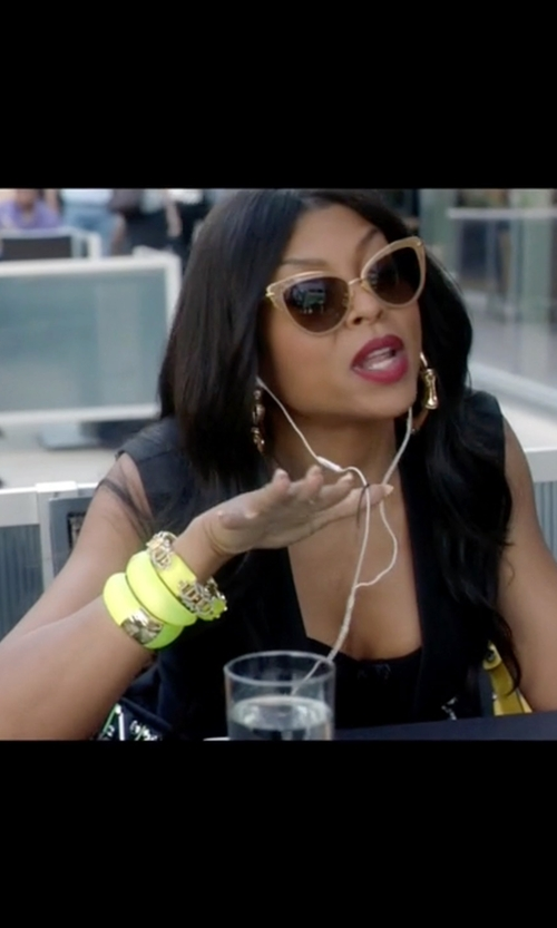 Taraji P. Henson with Angelique De Paris Bamboo Wide Silver Bracelet in Empire