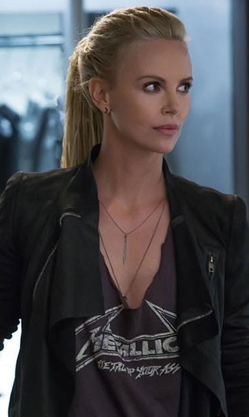 Charlize Theron with Hoxsin Metallica Band Geek Tank Top in The Fate of the Furious