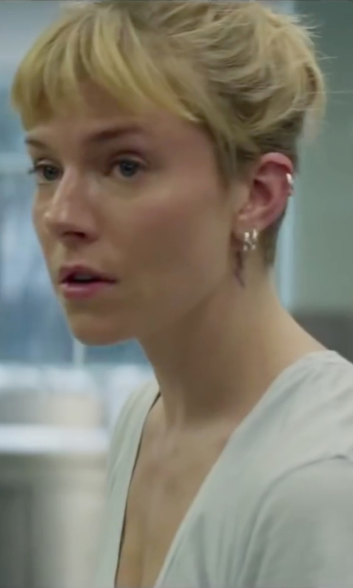 Sienna Miller with Alex Mika Mismatched Earrings in Burnt