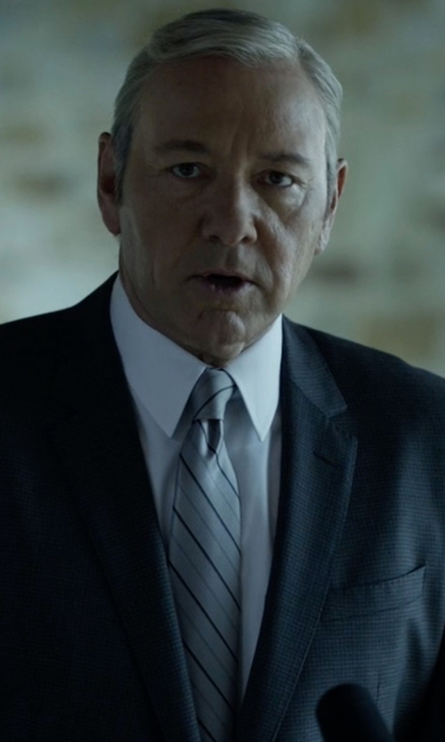 Kevin Spacey with Hugo Boss Striped Silk Tie in House of Cards
