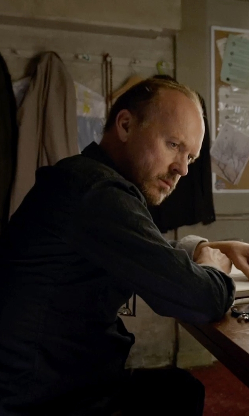 Michael Keaton with Bugatchi Trim Fit Solid Dress Shirt in Birdman