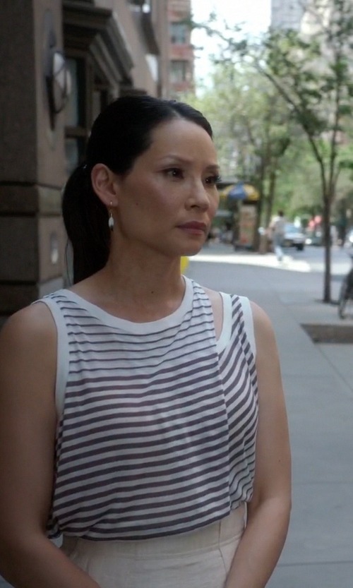 Lucy Liu with All Saints Caper Bar Tank Top in Elementary