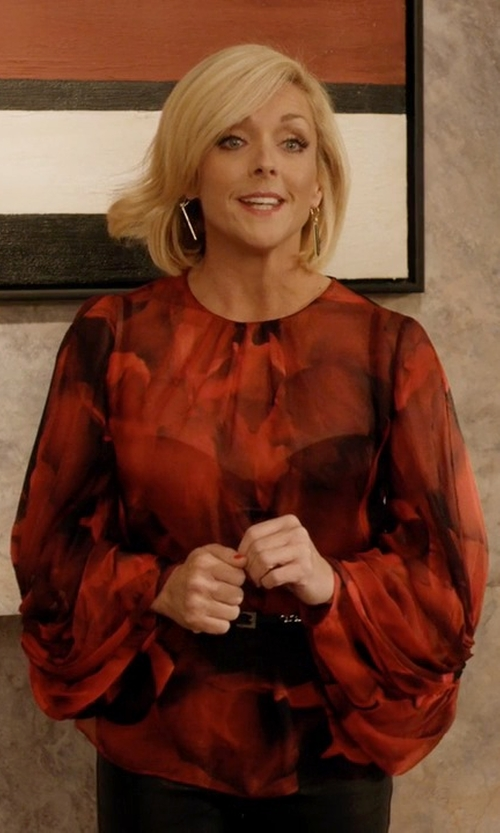 Jane Krakowski with Giambattista Valli Ikat-Print Silk-Georgette Blouse in Unbreakable Kimmy Schmidt