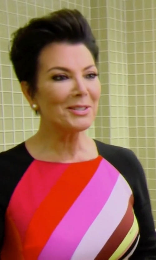 Kris Jenner with Emilio Pucci Ong-Sleeve Fitted Colorblock Dress in Keeping Up With The Kardashians