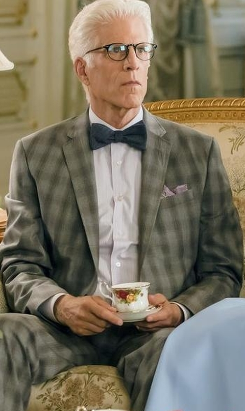Ted Danson with Isaia Plaid Two-Button Wool Suit in The Good Place