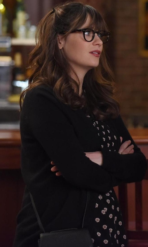 Zooey Deschanel with J.Crew Classic V-Neck Cardigan Sweater in New Girl