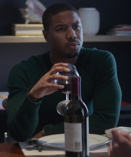 Michael B. Jordan with Terra Valentine 2009 Estate Syrah Wine in That Awkward Moment