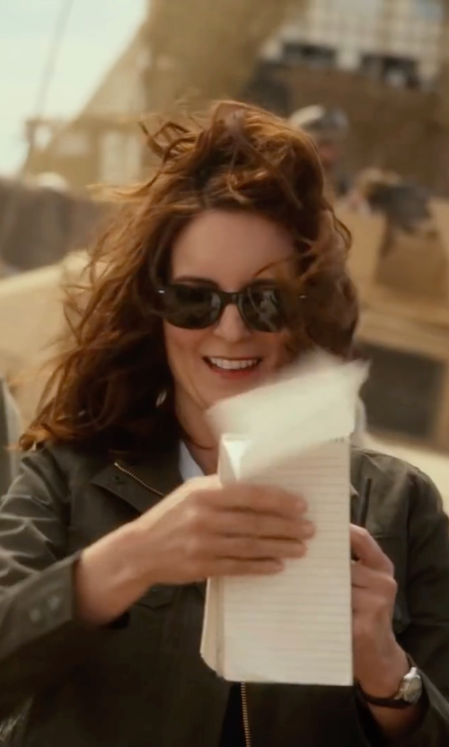 Tina Fey with Ray-Ban New Wayfarer Sunglasses in Whiskey Tango Foxtrot