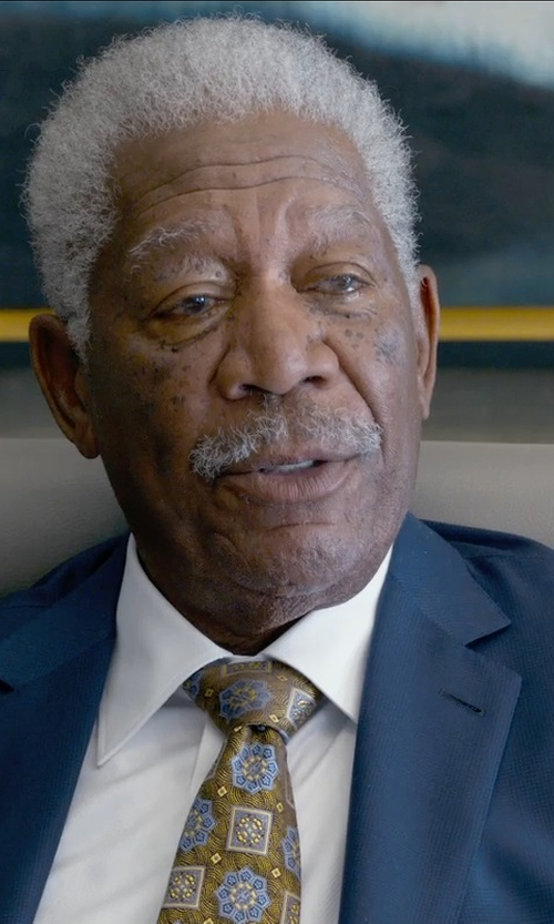 Morgan Freeman with Ermenegildo Zegna Trofeo Wool Tonal-Check Suit, Navy in Ted 2