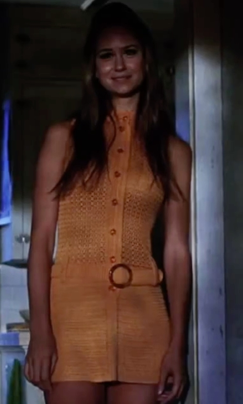 Katherine Waterston with Vintage Orange Mini Crochet Dress Selected By Mark Bridges (Costume Designer) in Inherent Vice