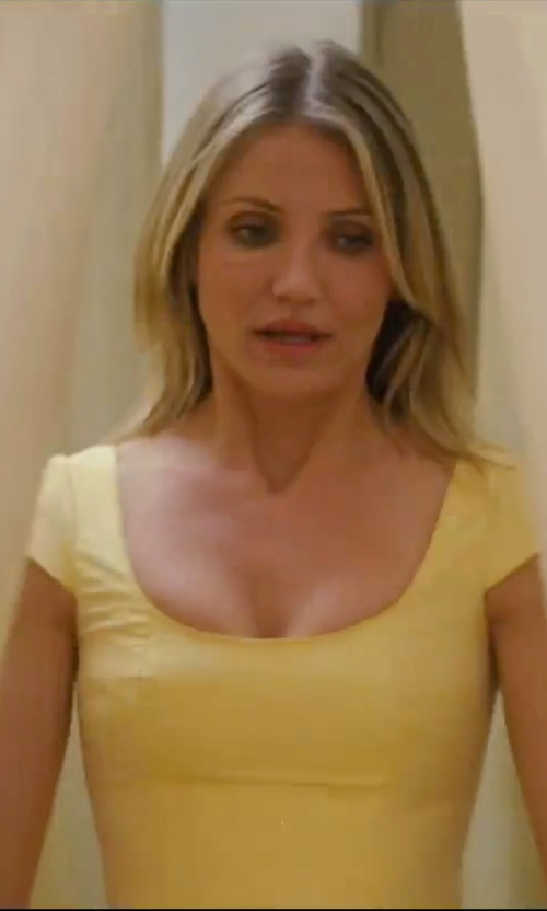 Cameron Diaz with Unique Vintage Chiffon Garden State Dress in Knight and Day