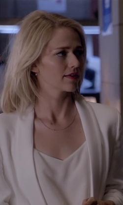 Johanna Braddy with Rebecca Minkoff 'Becky' Long Tuxedo Blazer in Quantico