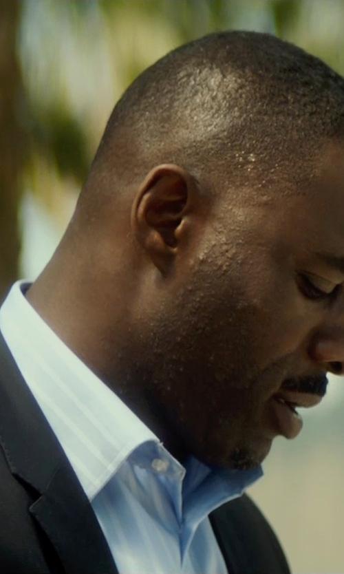 Idris Elba with Ike Behar Long-Sleeve Striped Poplin Dress Shirt in The Gunman