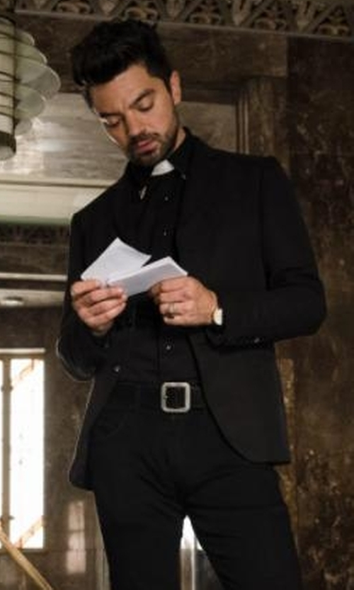 Dominic Cooper with Topman Ultra Skinny Black Suit Jacket in Preacher