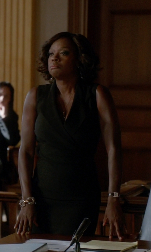 Viola Davis with Tory Burch 'Buddy Classic' Rectangular Saffiano Leather Strap Watch in How To Get Away With Murder