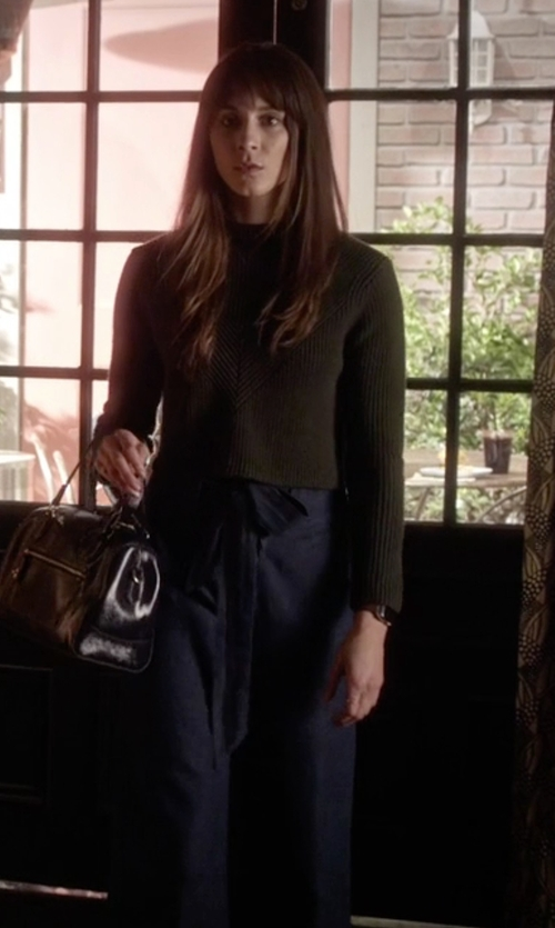 Troian Bellisario with Cooperative Naomi Cropped Tie-waist Pants in Pretty Little Liars