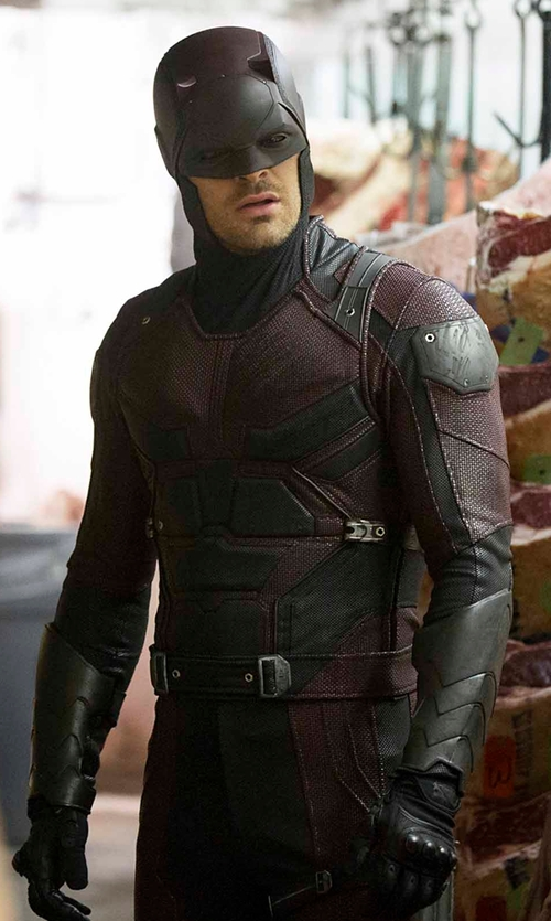 Charlie Cox with Stephanie Maslansky (Costume Designer) Custom Made Daredevil Costume in Daredevil