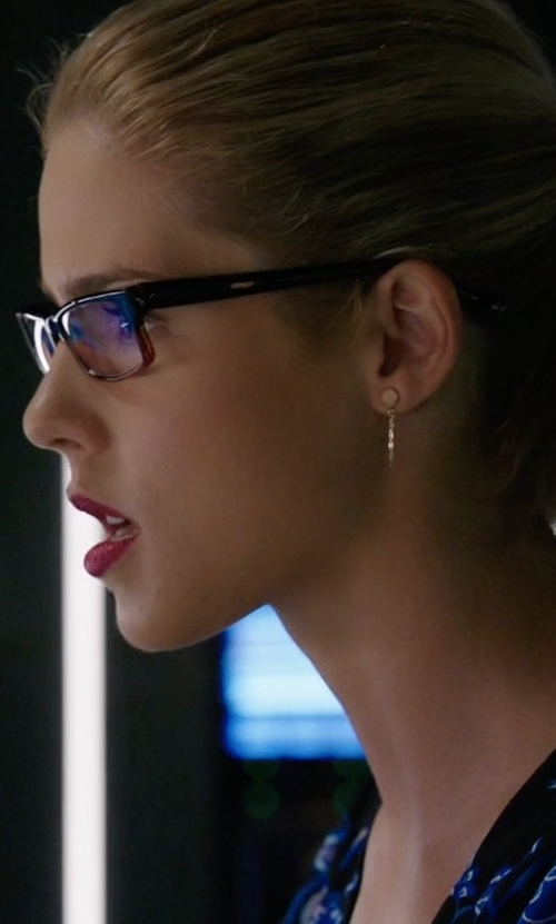 Emily Bett Rickards with Peggy Li Draped Rose Quartz Earrings in Arrow