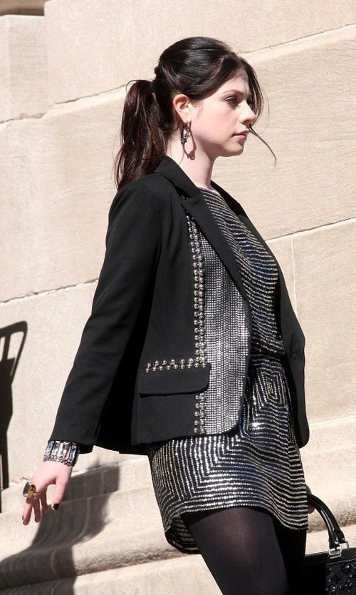 Michelle Trachtenberg with Reem Acra Fall 2012 Sequin Mini-Dress in Gossip Girl
