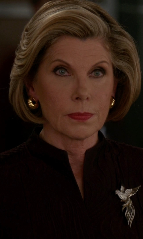 Christine Baranski with Waalaa Vintage Jewelry Vintage Bird Brooch in The Good Wife
