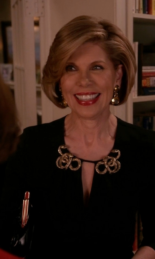 Christine Baranski with Lela Rose Long-Sleeve Shift Dress in The Good Wife