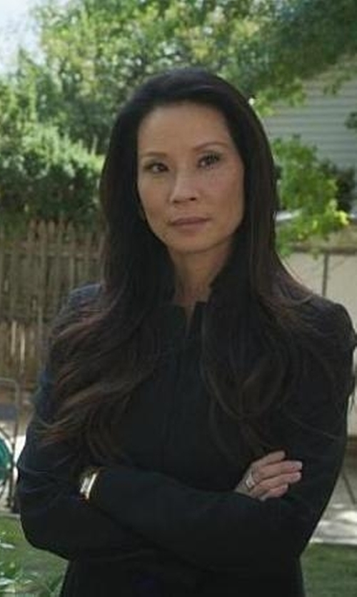 Lucy Liu with Paige Denim 'Pippa' Wool Blazer in Elementary
