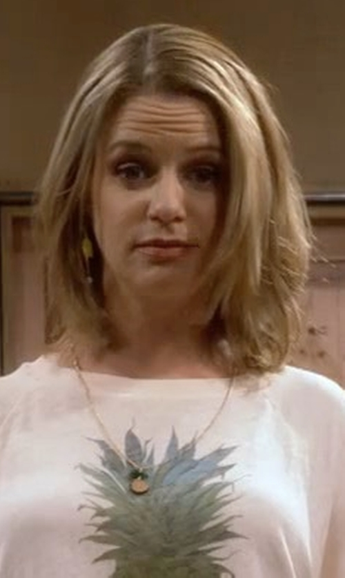 Andrea Barber with Modcloth Fruits and Ladders Necklace in Fuller House