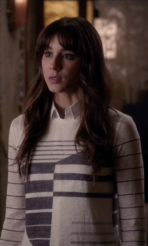 Troian Bellisario with Vince Abstract Stripe Tee in Pretty Little Liars