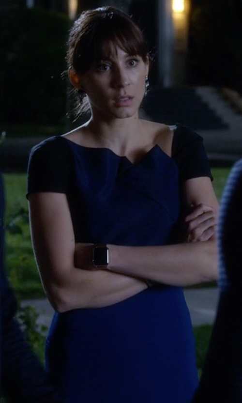 Troian Bellisario with Roland Mouret  Lepas Fold-Pleated Crepe Dress in Pretty Little Liars