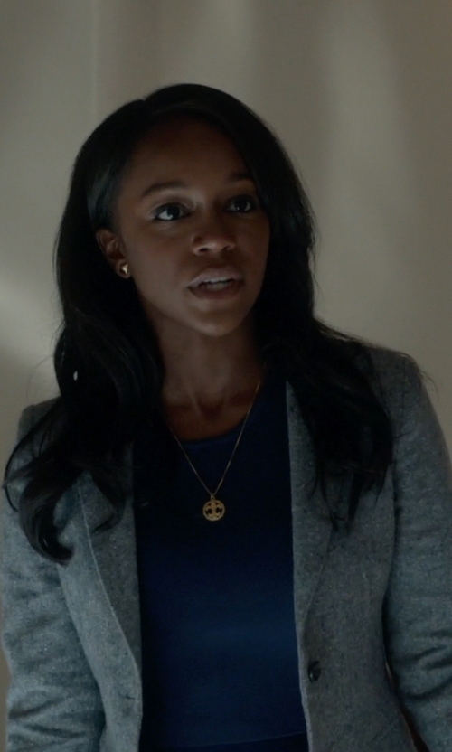 Aja Naomi King with Armani Collezioni Notch Lapel Blazer in How To Get Away With Murder