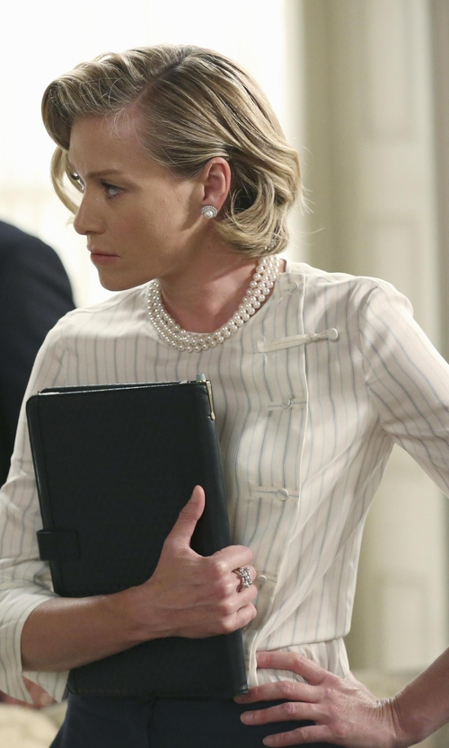 Portia de Rossi with Joie Venicia Silk Metallic-Stripe Blouse in Scandal