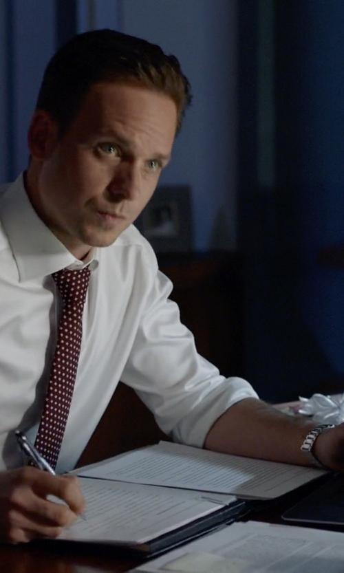 Patrick J. Adams with Salvatore Ferragamo Analog Display Quartz Silver Watch in Suits