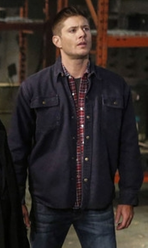 Jensen Ackles with Dakota Fleece Lined Duck Jac Shirt in Supernatural