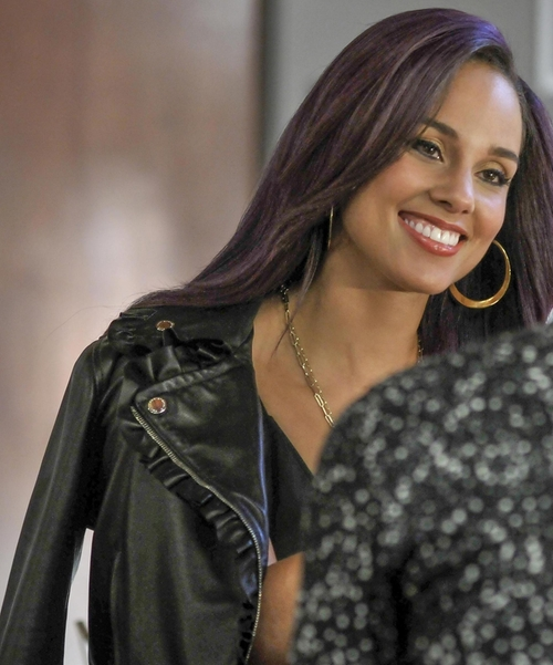 Alicia Keys with Christopher Kane Leather Frill Moto Jacket in Empire