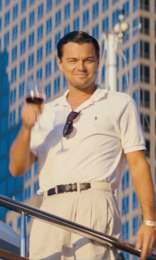 Leonardo DiCaprio with Polo Ralph Lauren Custom-Fit Mesh Polo Shirt in The Wolf of Wall Street